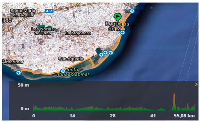 Perfil de la Ruta Roquetas Punta Entinas Sabinar Almerimar y vuelta