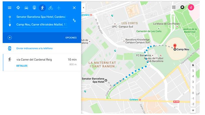 Mapa Trayecto desd eHotel Senator Barcelona al Camp Nou