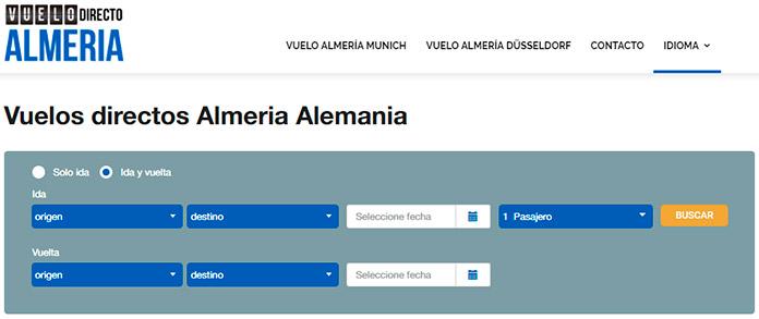 Captura de pantalla de la página principal del portal de reservas de vuelos www.vuelodirectoalmeria.com