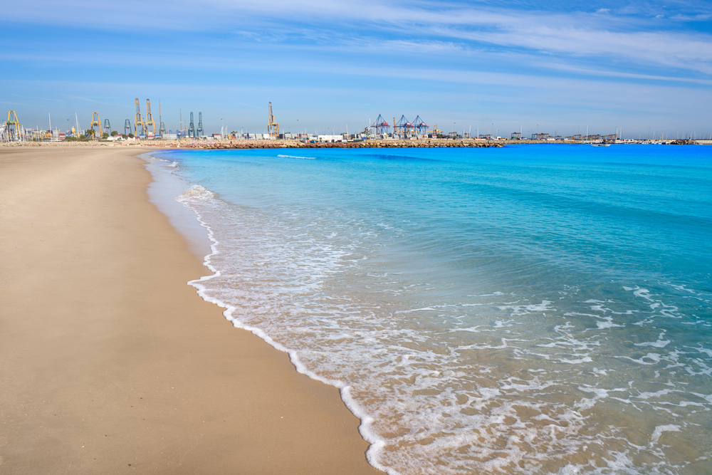 Pinedo beach and background, the port.
